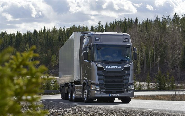Download wallpapers Scania S520, 4k, 2017 truck, new Scania, road, trucks, cargo transport, 6x4, Scania
