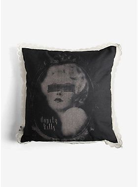 "Rest your beautiful head on this super soft pillow from Se7en Deadly Sins. Featuring a gorgeous graphic canvas and lace trim, this pillow keeps any room looking flawless. If looks could kill, right?<ul><li> 18"" X 18""</li><li>100% polyester</li><li>Spot clean</li><li>Made in USA</li></ul>"