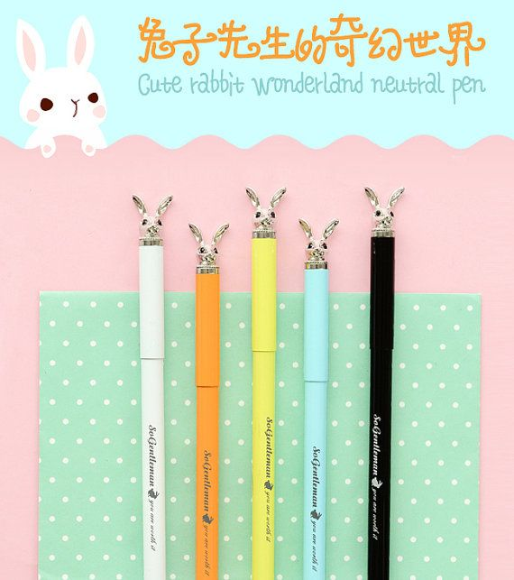 Rabbit Pen 0.5mm Black Ink  Rabbit Gel Pen  Bunny by iluvdesign
