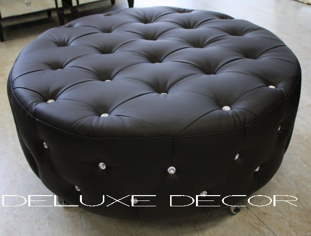 Monique Modern Black PU Leather Crystal Buttoned Round Ottoman Seat http://deluxedecor.com.au/products-page/monique-collection/page/2/