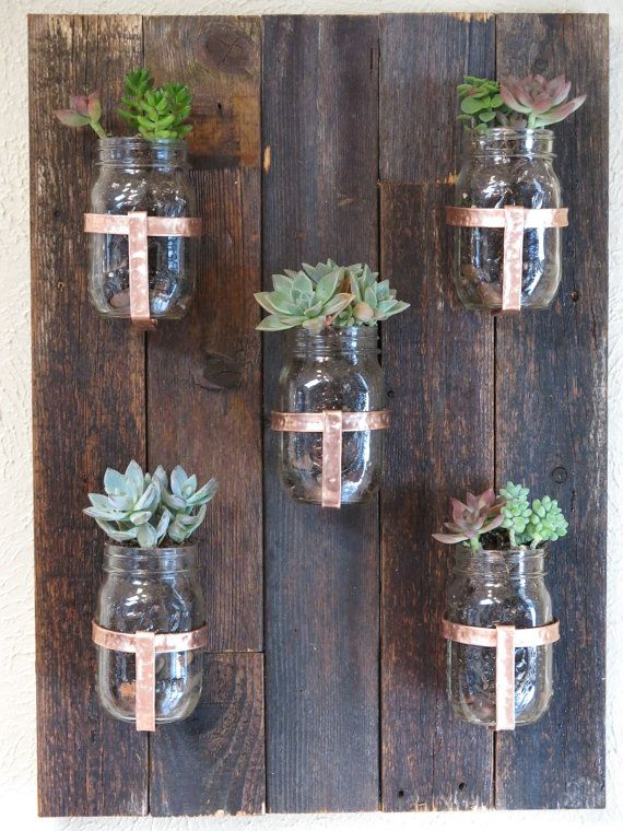 Reclaimed Wood Mason Jar Planter with Hand Hammered door wayneworks, $65.00