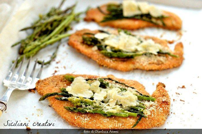 Petto di pollo con asparagi e Parmigiano Reggiano Dop
