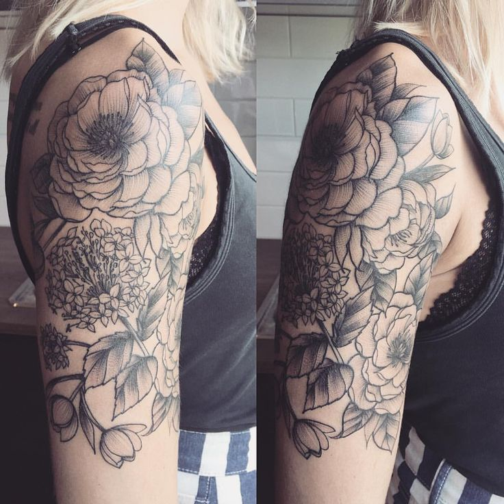 An almost half sleeve of peonies, hydrangeas and tulips! We will be adding more to make it a 3/4 sleeve. Thanks Karley!