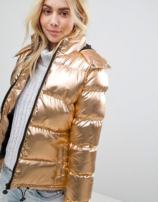 Brave Soul Quilted Metallic Coat