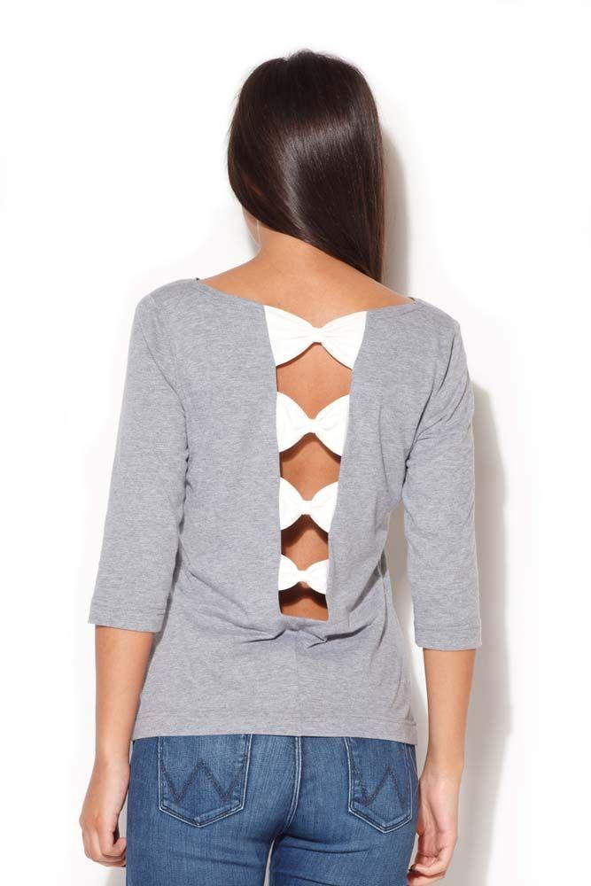 Szara bluzka z dekoltem na plecach