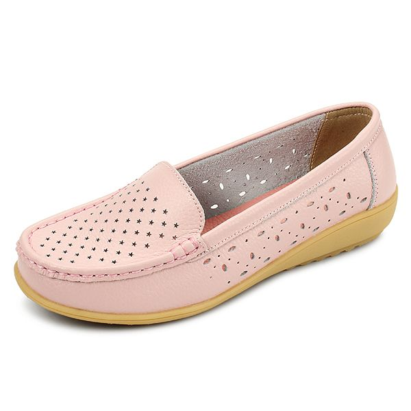 Leather Hollow Out Breathable Pure Color Casual Slip On Flat Shoes is cheap  and comfortable. There are other cheap women flats and loafers online.