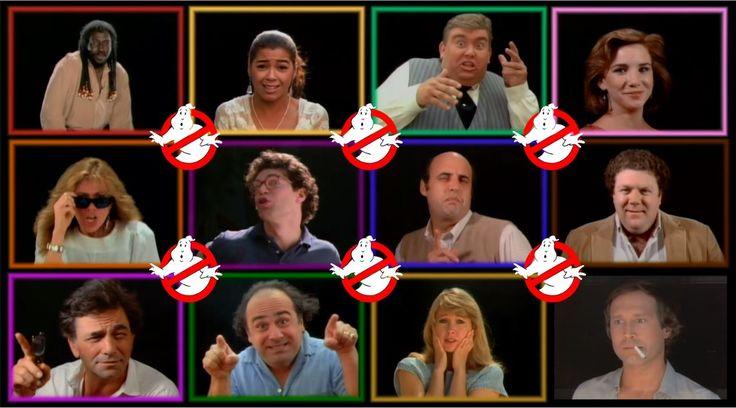 Ghostbusters, celebrity cameos,  Rick James, Irene Carra, John Candy, Melissa Gilbert. Row 2: Carly Simon, Al Franken, Jeffrey Tambor, George Wendt, Row 3: Peter Falk, Danny DeVito, Teri Garr, Chevy Chase.