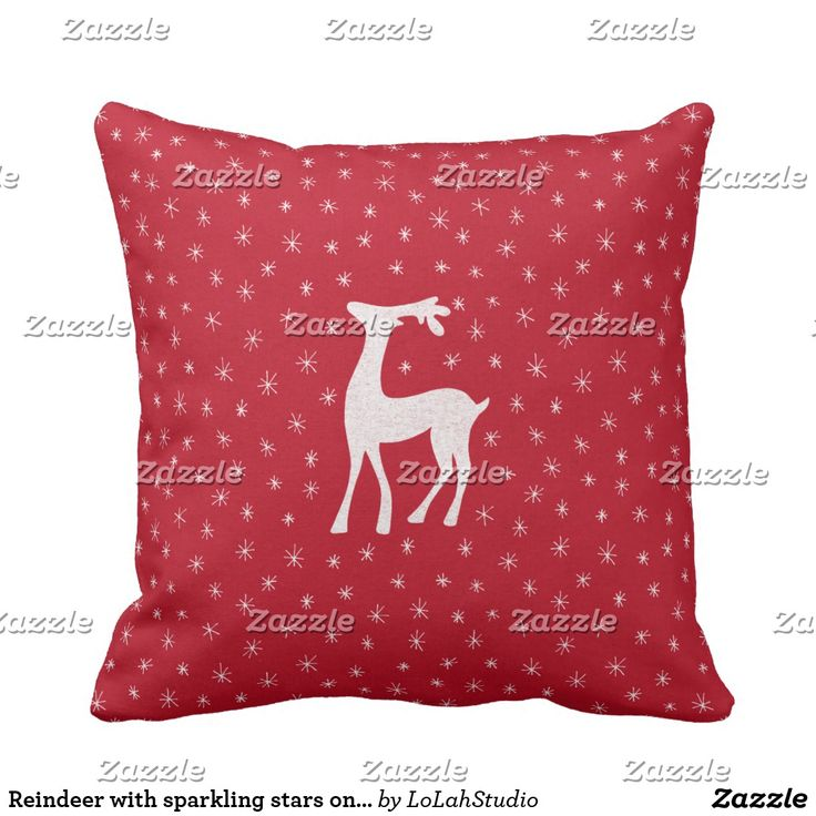Reindeer with sparkling stars on red throw pillow  #Christmasgifts #reindeer #personalised #personalized-gifts #Red #White-stars #Pattern #Hand-drawn #Love #Lovely #In-love #LolahStudio #Holidays #New-year