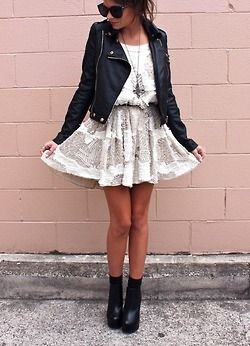 Perfect girly and rock mix with the black leather jackets and white laces