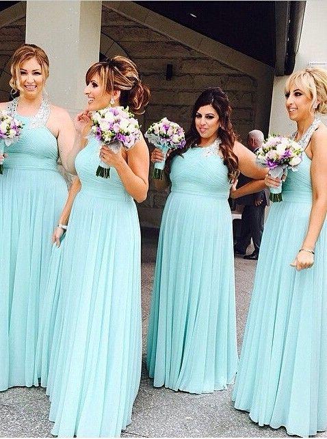 Sexy A-Linie Träger Bodenlanges Mintgrünes Brautjungfernkleid mit Perlenstickerei