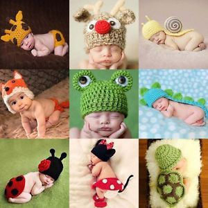 Neugeborene-Baby-Infant-Aminal-Knit-Kostuem-Fotografie-Prop-haekeln-Beanie-Hat-Cap