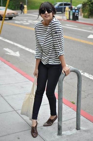 outfit (black jeans, stripes, tan oxfords)