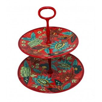 Red Ceramic 2 Tier Cake Stand