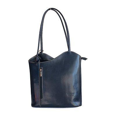 Multi-Way Navy Blue Leather Shoulder Bag/Backpack - £49.99