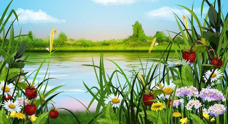Sommer, Landskap, Blomster, Tegning, Bær, Jordbær