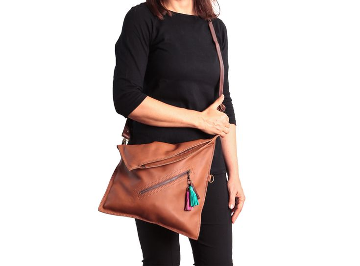 Cross body bag Fold over purse Brown leather crossbody by Percibal