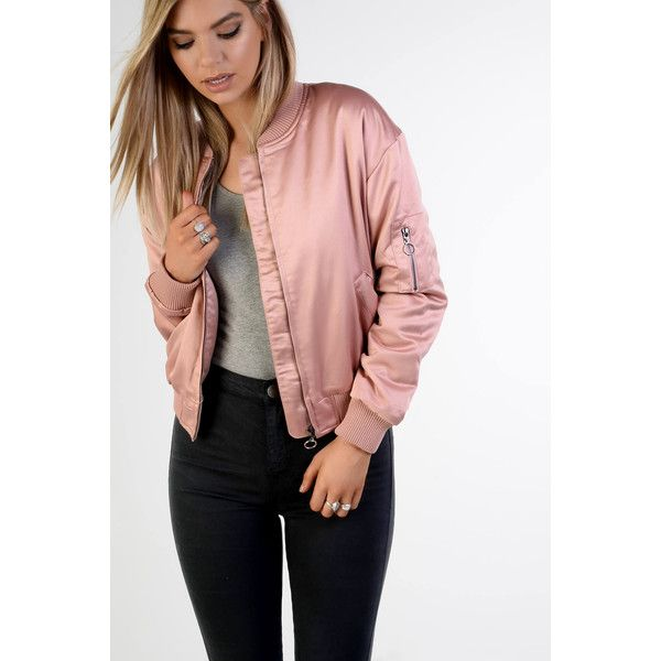 Rose Satin Bomber Jacket ($71) ❤ liked on Polyvore featuring outerwear, jackets, pink, flight jacket, pink zip jacket, pink jacket, pink satin jacket and satin jackets
