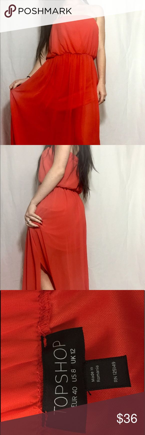 Topshop Dress This dress is amazing! It's the most amazing color, kind of a coral/red. It's long (way too long for me, with a little slit on each side! It's a tube top style dress! Dresses Strapless