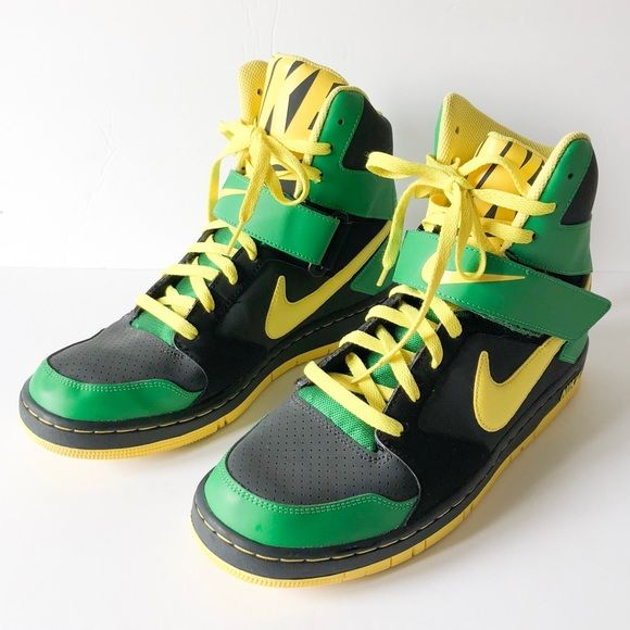 nike black and yellow high tops