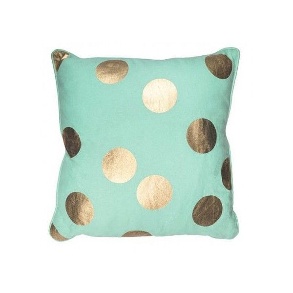 Gold Spot Mint Cushion Pastels ($34) ❤ liked on Polyvore featuring home home