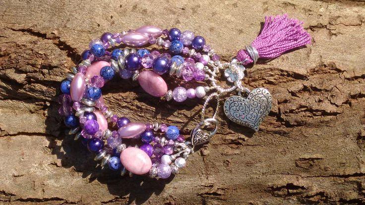 Multi Strand Bracelet Pink and Purple Multi Strand Bracelet
