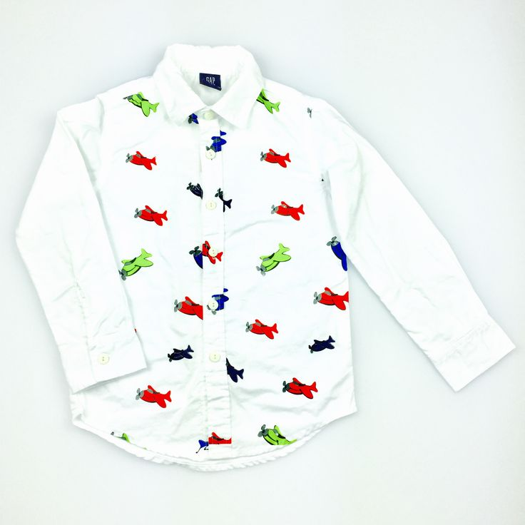 GAP KIDS, white long-sleeved cotton shirt, with aeroplane print, excellent pre-loved condition (EUC), size 3, $9