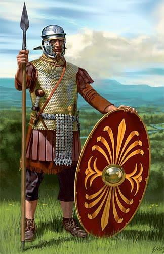 Roman auxiliary c.100AD. Auxilia were the non-citizen soldiers of the Empire but were recruited into the army for their local knowledge and specialist skills often as scouts, cavalry or archers. After 25 years service an auxiliary could qualify for Roman citizenship.