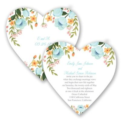 Sweetheart Floral Wedding Invitation at Invitations By David's Bridal. Pictured in Pool, but also available in Coral Reef. #davidsbridal #weddinginvitations