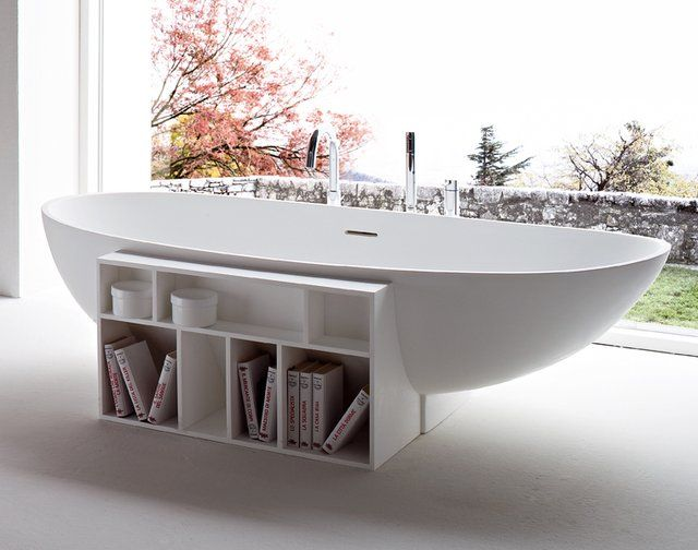 Bath and a book? Yes, please.Bathroom Design, Bath Tubs, Interiors Design, Bookcas, Rexa Design, Storage Design, Bathroom Decor, Eggs Bathtubs, Bath Design