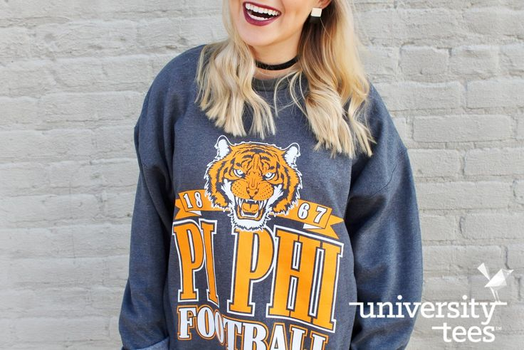 Football time makes us smile I made by University Tees I apparel designs | custom greek apparel | sorority sweatshirts I greek t-shirts I t-shirt designs I PR apparel