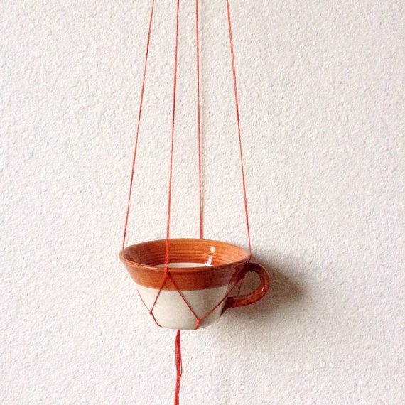 Vintage Teacup Planter Mini Macrame Succulent by TreasuresDelMar