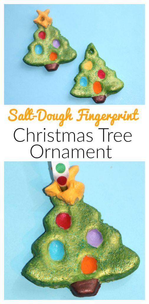 Fingerprint christmas tree salt dough ornament trees for Five homemade christmas tree topper ideas