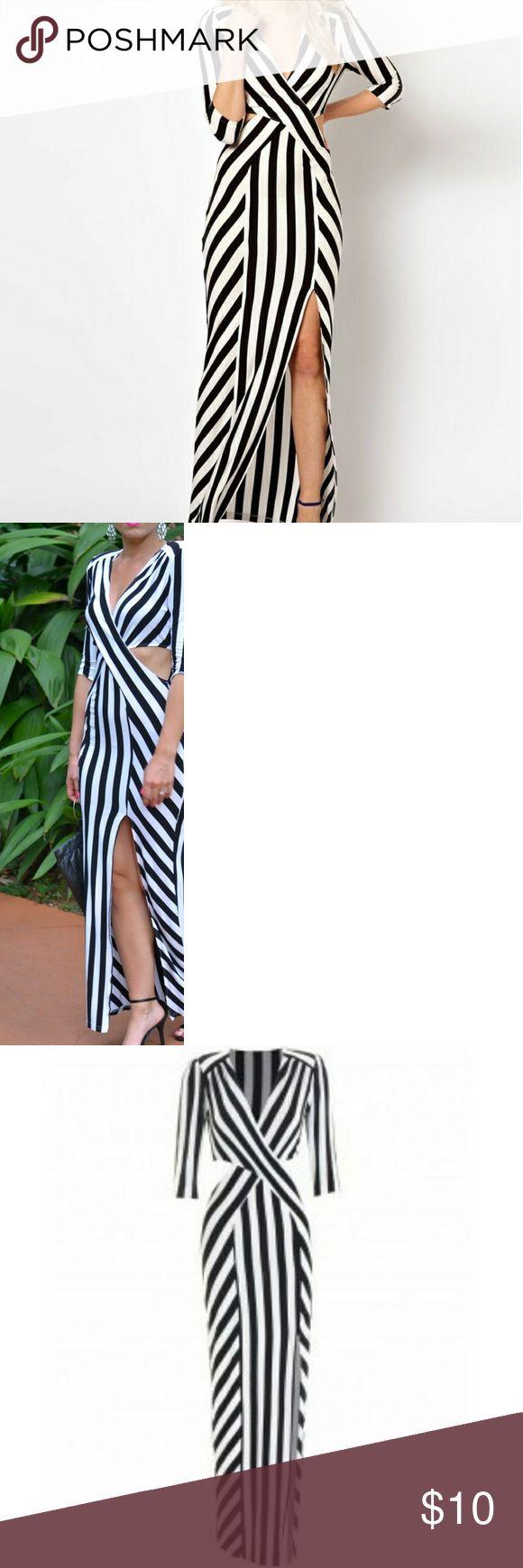 ASOS  black and white striped maxi dress Black and white striped maxi dress with side cut outs and thigh slit ASOS Dresses Maxi