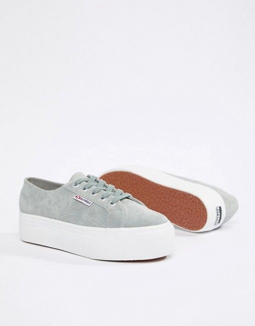abcff5b651199 Superga 2790 Gray Suede Flatform 4cm Sneakers in 2019 | inspiration ...