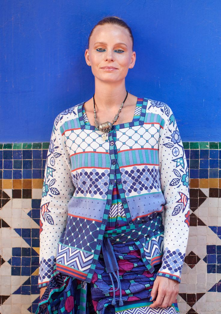 Strikkejakke «Mosaik» i økobomull – Tema Mosaikk – GUDRUN SJÖDÉN – Kläder Online & Postorder