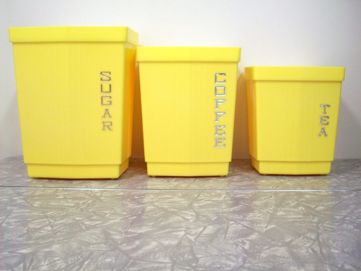 Vintage Canister Set, Lemon Yellow 3 Piece.