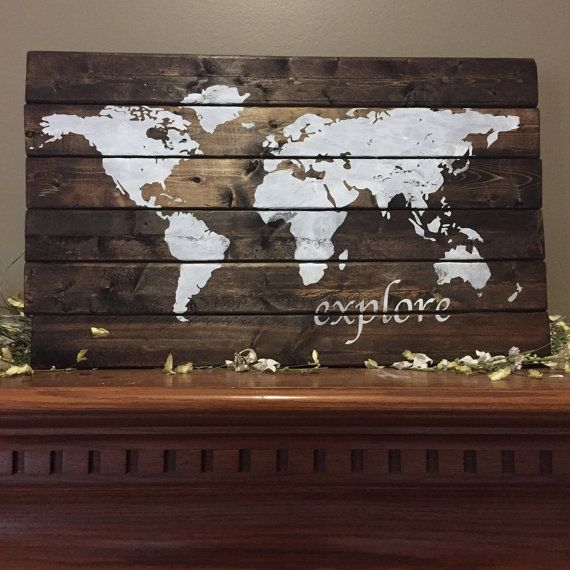 Hey, I found this really awesome Etsy listing at https://www.etsy.com/listing/254725268/world-map-pallet-world-wood-sign-explore