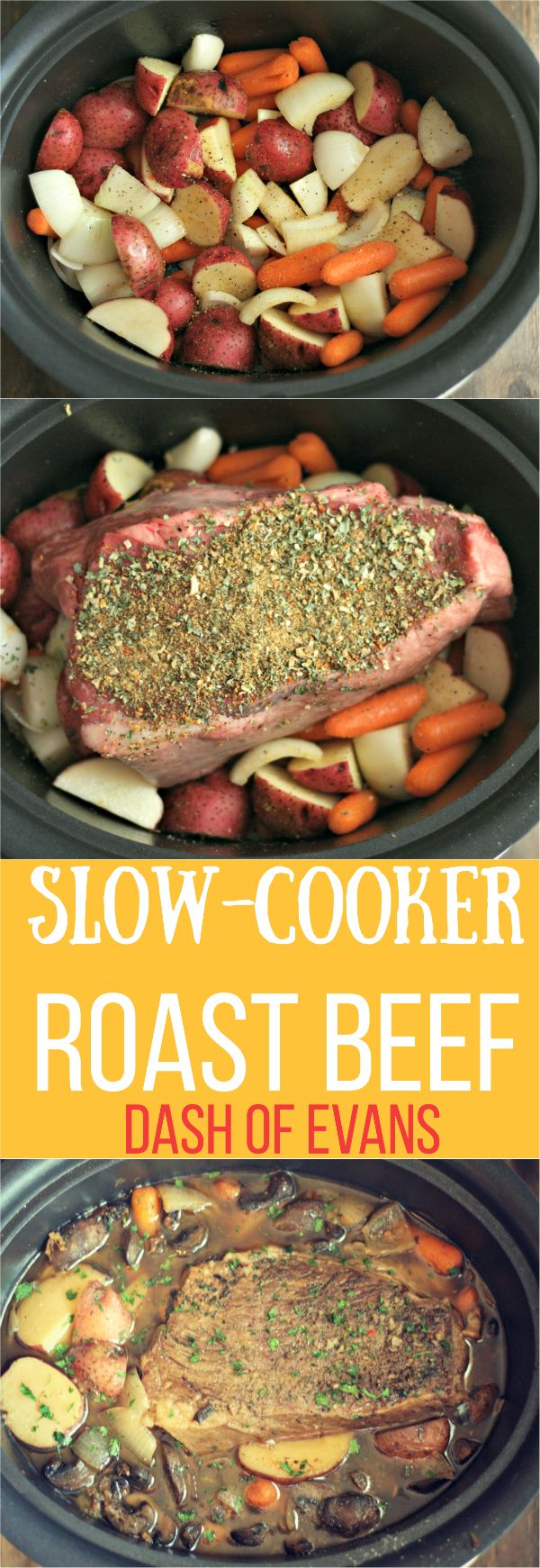 Looking for a simple, comfort food favorite? Try this Slow-Cooker Roast Beef using a Rump Roast. YUM! via @DashOfEvans