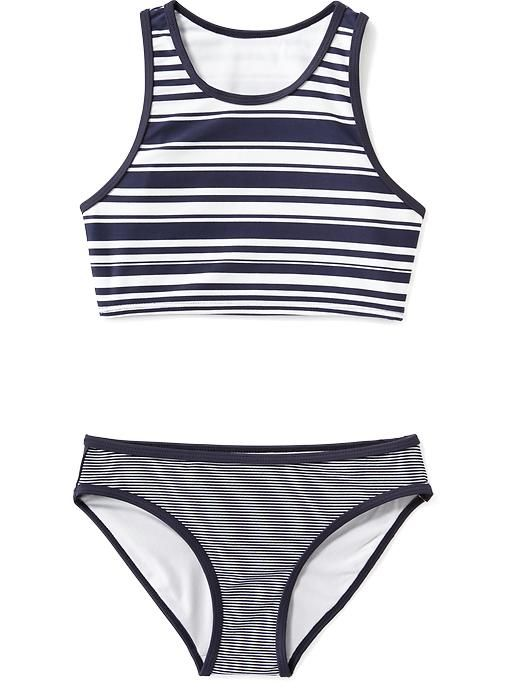 Striped Sport Tankini Set for Girls
