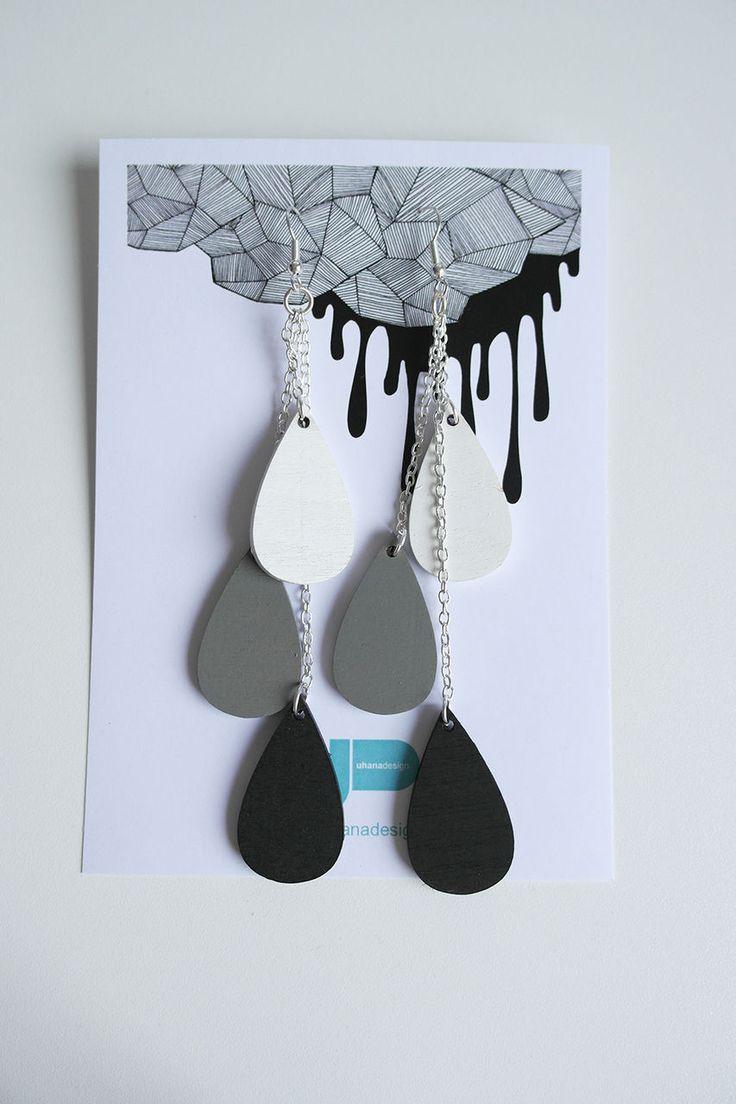Uhana Design - Pisara-korvakorut, valkoinen-harmaa-musta | Weecos