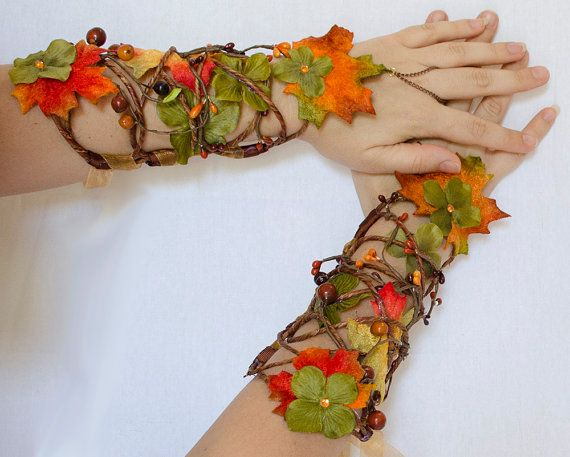 Autumn Fairy Cuff Set by Frecklesfairychest on Etsy, $110.00 (just make something like it ;))