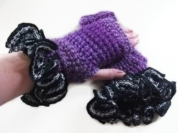 Purple Fingerless Gloves/Mittens with Black by UniquelyYourDesigns, £12.00