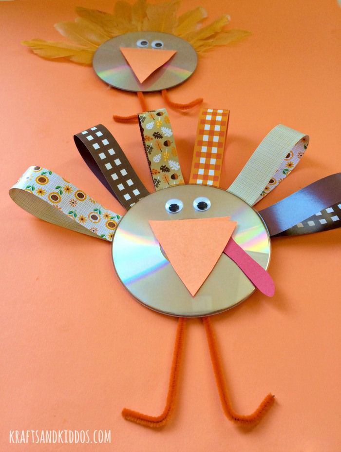 CD Turkey Craft for kids on Thanksgiving - Krafts and Kiddos