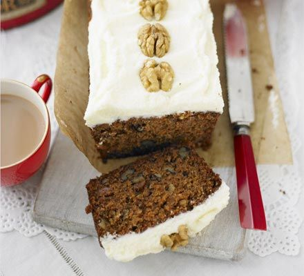 Carrot cake with cinnamon frosting - this is a James Martin (mmm) recipe and has walnuts rather than pecans - do this one first