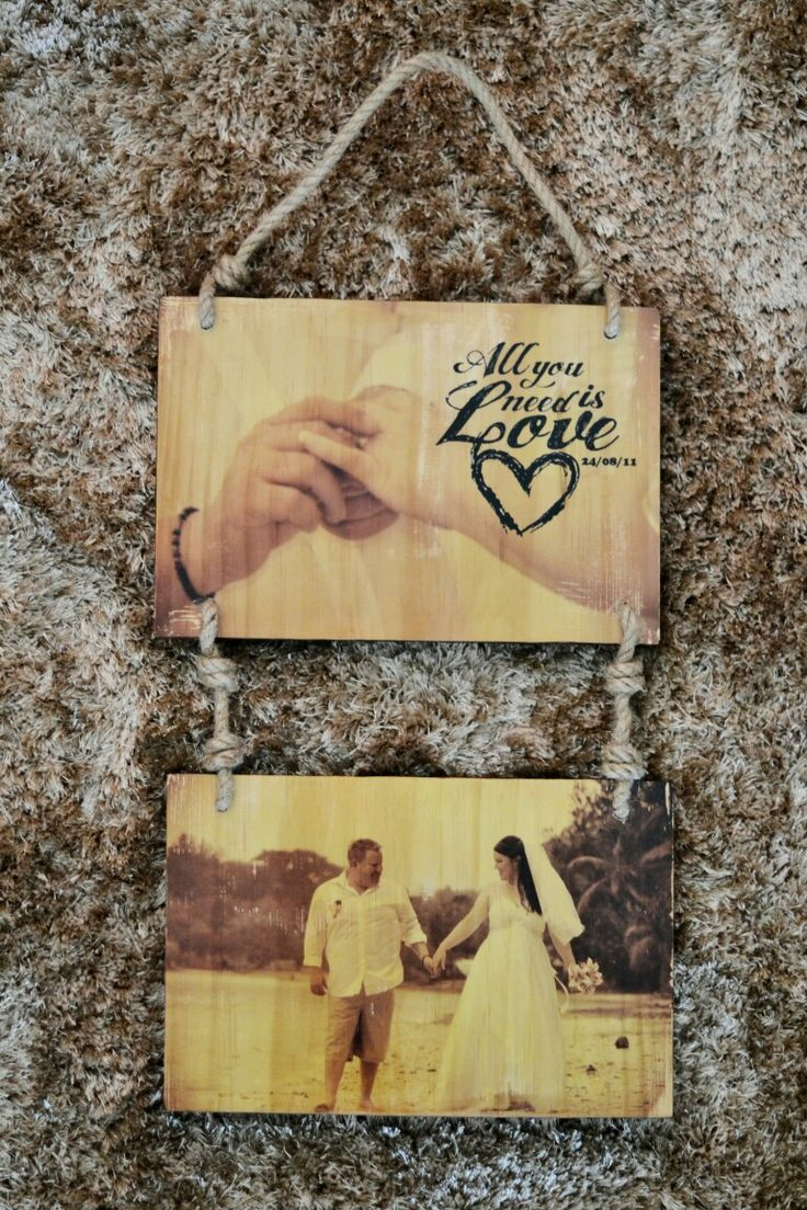 Timber image transfer. Wall hanger art. Wedding anniversary 5 years wood  All you need is love. Diy craft for the home  Taela-Made