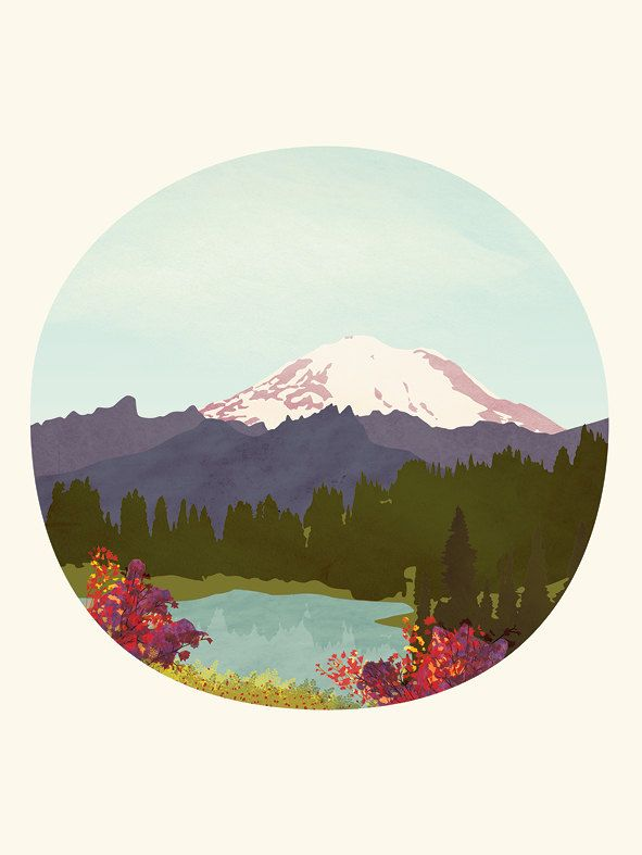 Absolutely loving the colours and perfect circle framing in this fun Mountain Art Print by peachlings: Paintings Art, Mountain Lakes, Art Paintings, Mount Rainier, Paintings By Numbers, Art Prints, Lakes Prints, Scenic View, Mountain Art