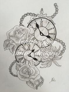 tattoos representing 2 daughters clocks - Google Search