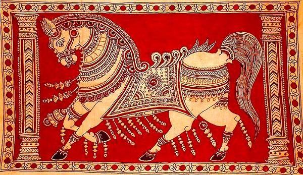 Indian Painting Styles...Kalamkari Paintings (Andhra Pradesh)-kalamkari-horse1-5-.jpg