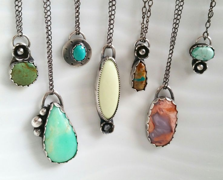 Handmade Sterling Silver Springtime Necklaces ... so much colour ! ❤