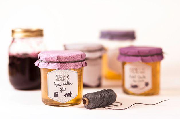 Küche & Kochen - Marmeladenset 1 (Klebeetiketten, Deckelhauben &... - ein Designerstück von catsonappletrees bei DaWanda